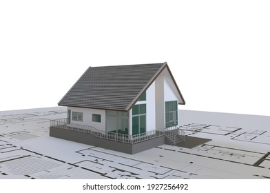 House on floor plan paper 3D illustration and rendering of small house on white paper with plan drawing. Real estate business concept.