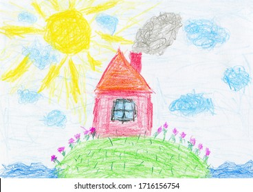 House on green island with flowers, bright sun and clouds surrounded by sea. Fairy tale, education, joy, summer and happiness concept. Children's drawing, crayons or color pencils on white paper