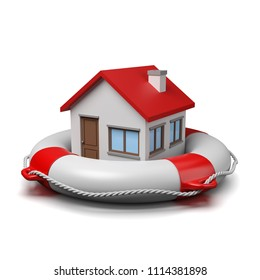 House on a Lifebuoy on White Background 3D Illustration