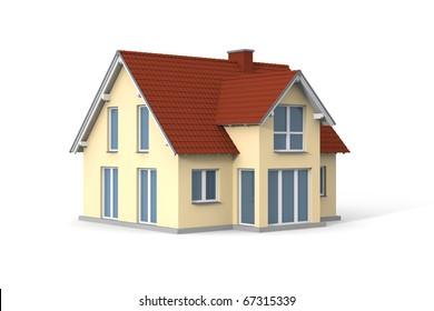 House on white background. Computer generated picture.