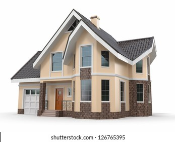 House on white background. Three-dimensional image. 3d