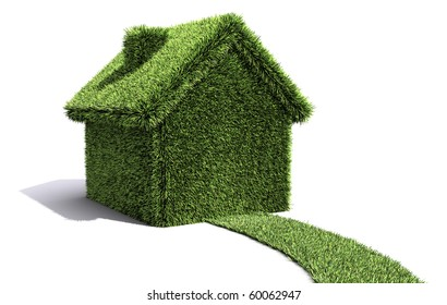 House and path covered in grass showing environmentally friendly living.