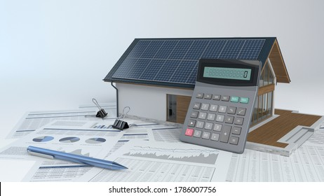 House with photovoltaic solar panel and calculator and documents - 3d illustration