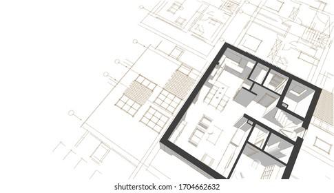 house plan facades architectural sketch 3d illustration