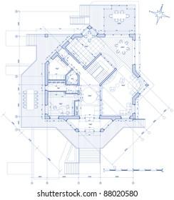 house plan: vector blueprint. Bitmap copy my vector ID 14377873