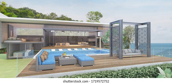 House Pool Villa Modern with swimming pool, White and blue tone furniture, Beach chairs with sea view -3D render