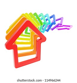 House prices falling down: queue line of rainbow colored house emblems falling down as domino effect isolated on white background