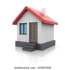 House project. Drawing turns into 3d model. Construction concept. Icon for your design project. Isolated on white background. 3D illustration