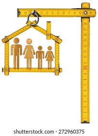 House Project - Wooden Meter with Family. Yellow wooden meter ruler in the shape of house isolated on white background with symbol of a family. House project concept.