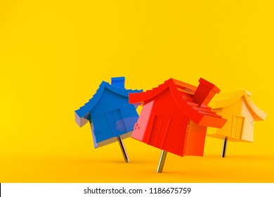 House pushpins isolated on orange background. 3d illustration