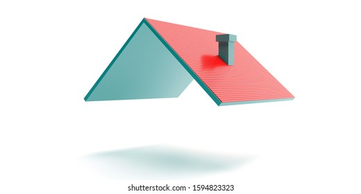 House roof. Red tile roofing model isolated against white background. Real estate, housing construction project concept. 3d illustration