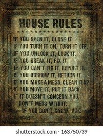 House rules on aged vintage retro looking parchment