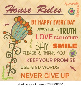 House rules typography poster design