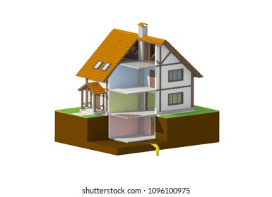 house in a section, rooms, 3d render illustration
