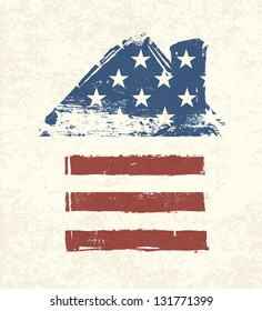 House shaped american flag. Raster version, vector file available in my portfolio.