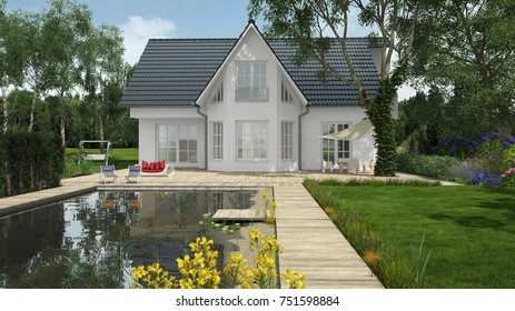 House or single family home with garden and pond (3D Rendering)