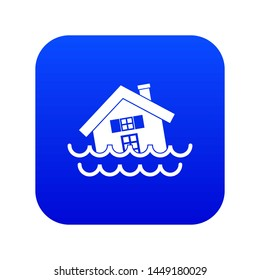 House sinking in a water icon digital blue for any design isolated on white illustration