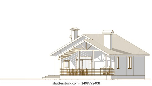 house sketch project 3d illustration