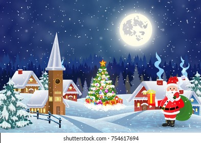 A house in a snowy Christmas landscape at night. christmas tree and Santa Claus with gift bag. concept for greeting or postal card Raster version