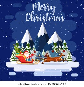 A house in a snowy Christmas landscape. Santa Claus flying on a sleigh. concept for greeting or postal card. Merry christmas holiday. New year and xmas celebration raster version