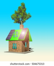 house with solar panels, 3d render - Shutterstock ID 504675313