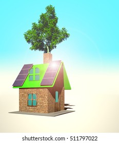 house with solar panels, 3d render - Shutterstock ID 511797022