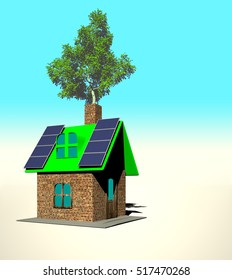 house with solar panels, 3d render - Shutterstock ID 517470268