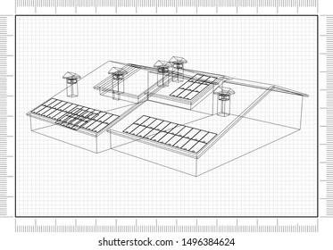 House with solar panels Blueprint - 3D Rendering