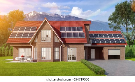 House with solar panels system on roof in the Bavarian Alps (3D Rendering)
