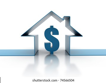 House symbol and dollar sign