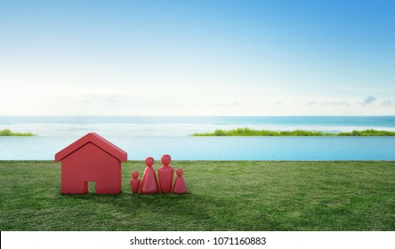 House symbol with people icon on terrace and green grass near swimming pool in real estate sale or property investment concept, Buying new home for lovely family. 3d illustration of tourist resort.