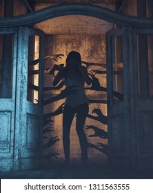 House of a thousand hands,Undead hands behind the doors haunting the girl in a haunted house,3d rendering