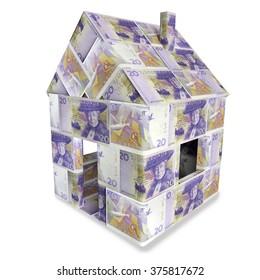 House of twenty swedish kronor and money bills