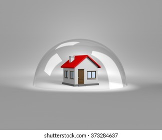 House under a Glass Shield 3D Illustration, Protection Concept