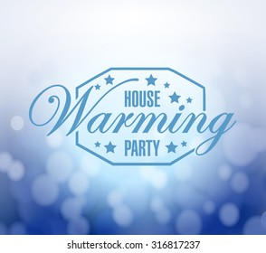 house warming party bokeh background sign illustration design graphic