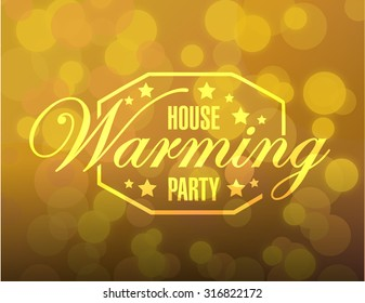 house warming party gold bokeh card background sign illustration design graphic