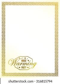 house warming party gold frame background sign illustration design graphic