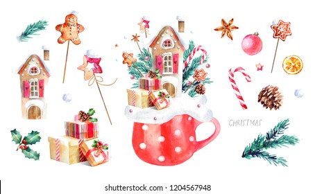 Сhristmas  house, watercolor illustration of a cute house in a cup and New Year's decor, isolated drawings by hand of decorations and elements: tree branches, gifts, a star, candy cane, gingerbread