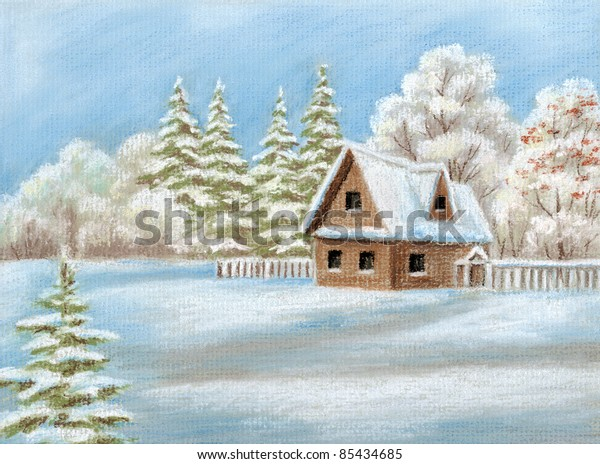 House Winter Forest Picture Pastel Handdraw Stock Illustration
