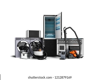 Household appliances group of vacuum cleaners refrigerator microwave washing machine washing machine gas stove 3d render on a white background with shadow