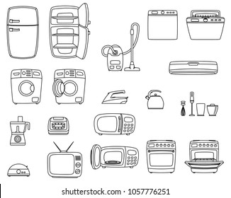 Household appliances set. Home technics. TV, refrigerator, conditioner, dishwasher, oven, kettle, iron, multicooker, blender mixer vacuum cleaner washing machine microwave toster. Raster version.