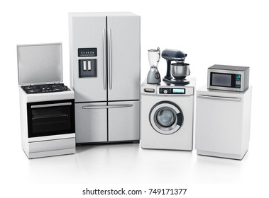 Household equipments isolated on white background. 3D illustration.