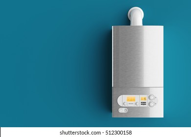 Household gas boiler on blue background 3d illustration