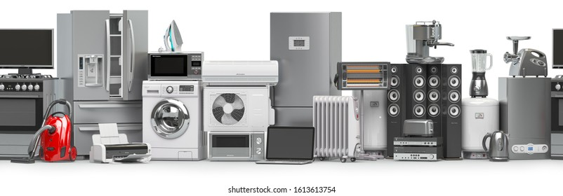 Household and kitchen appliances and home technics in a row. Seamless pattern.  E-commerce online internet store concept. 3d illustration