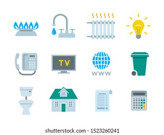Household services utility bill icons. Flat symbols of regular payments such as gas, water, electricity, heating, telephone, cable TV, Internet, garbage, sewage. Simple pictograms