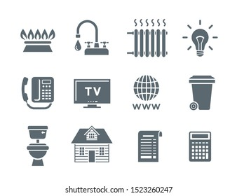 Household services utility bill icons. Flat silhouette symbols of regular payments such as gas, water, electricity, heating, telephone, cable TV, Internet, garbage, sewage. Simple pictograms