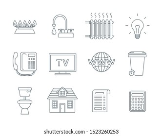 Household services utility bill icons. Flat thin line symbols of regular payments such as gas, water, electricity, heating, telephone, cable TV, Internet, garbage, sewage. Outline pictograms