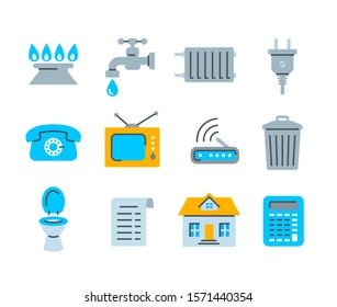 Household services utility bill icons. Flat symbols of regular payments such as gas, water, electric energy, heating, telephone, cable TV, Internet, garbage, sewage. Simple color pictograms