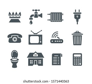 Household services utility bill icons. Flat silhouettes regular payment symbols such as gas, water, electric energy, heating, telephone, cable TV, Internet, garbage, sewage. Simple pictograms