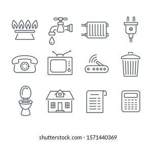 Household services utility bill icons. Flat thin line regular payments symbols such as gas, water, electric energy, heating, telephone, cable TV, Internet, garbage, sewage. Outline pictograms